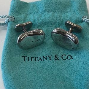Tiffany Elsa Peretti Bean Cufflinks Sterl. Silver